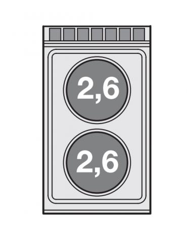 Piano di cottura da bancoin acciaio inox CrNi 18/10 AISI 304 trifase-5,2kw, 2 piastre tonde - cm 40x70,5x28h
