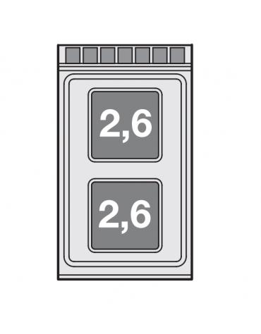 Piano di cottura da banco in acciaio inox CrNi 18/10 AISI 304 trifase-5,2kw, 2 piastre quadre - cm 40x70,5x28h