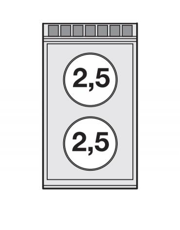 Piano di cottura da banco inox CrNi 18/10 AISI 304 trifase-5kw, 2 zone di cottura cm 35x57 in vetroceramica  - cm 40x70,5x28h