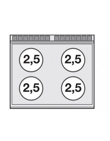 Piano di cottura da banco inox CrNi 18/10 AISI 304 trifase-10kw, 4 zone di cottura cm 75x57 in vetroceramica  - cm 80x70,5x28h