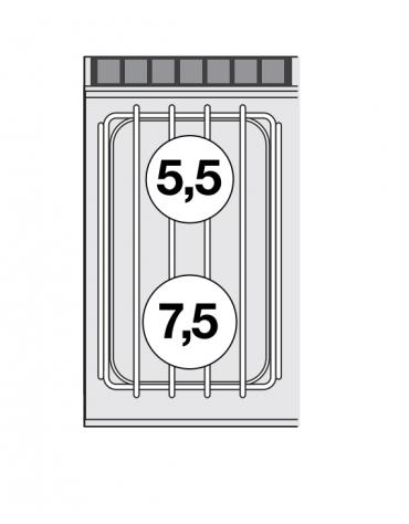 Piano di cottura in acciaio inox CrNi 18/10 AISI 304 a gas 2 fuochi - potenza gas: 13 kW - 11.180kcal/h - cm 40x70,5x28h
