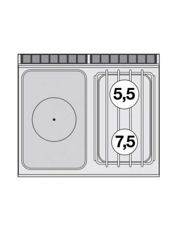 Piano di cottura a gas in acciaio inox CrNi 18/10 AISI 304, 2 fuochi + tuttopiastra cm 37x57 - cm 80x70,5x28h