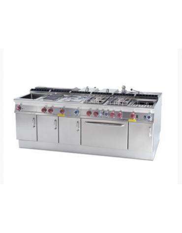 Bagnomaria a gas da banco in acciaio inox CrNi 18/10 AISI 304, 1 vasca GN2/1 h cm 15  cm 80x70,5x28h