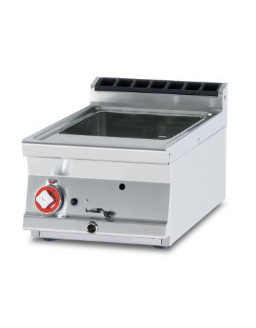Cuocipasta a gas da banco in acciaio CrNi 18/10 AISI 304, 1 vasca cm 31x33,5x18h da 13 litri di capacità - cm 40x70,5x28h