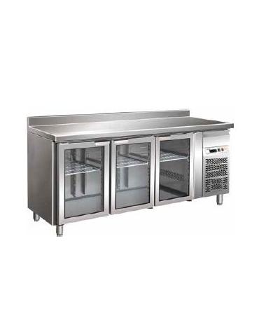 Tavolo refrigerato con alzatina 3 Porte a vetro cm. 176,5x70x85h