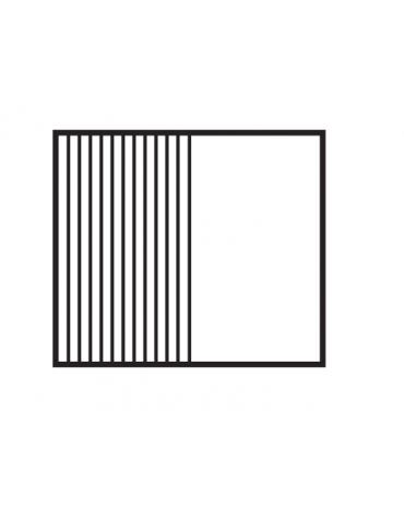 Fry top a gas da banco, 14kw, piastra doppia cromata 1/2 liscia 1/2 rigata, superficie di cottura cm 76x51 - cm 80x70,5x28h