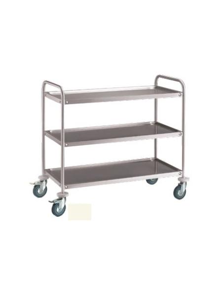 Carrello portavivande a 2 ripiani piatti in acciaio inox S/S 201 - 2 ruote con fermo freno - dimensione cm 90x85x44,5h