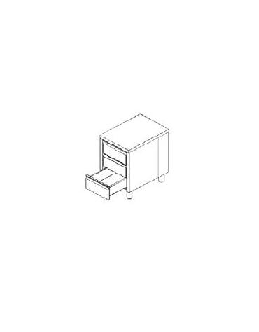 Cassettiera inox a 3 cassetti GN 1/1 COMPLETA DI RIPIANO SUPERIORE CM 50X70X85H