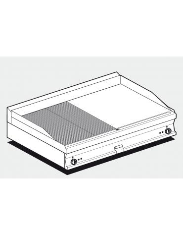 Fry top elettrico trifase-14,8kw da banco, piastra cromata 1/2 liscia, 1/2 rigata cm 116x51, da 50 a 300 °C - dim. 120x70,5x28h
