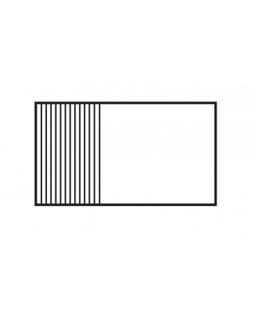 Fry top elettrico trifase-16,65kw da banco, piastra 1/3 rigata 2/3 liscia, 3 zone di cottura cm 116x51 - dim. 120x70,5x28h