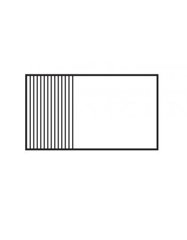 Fry top a gas da banco, 21kw, piastra cromata 1/3 rigata, 2/3 liscia, 3 zone di cottura cm 116x51 - cm 120x70,5x28h