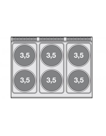 Cucina elettrica 27,7kw, 6 piastre tonde su forno elettrico statico, camera cm 67x73x34h, 1 vano neutro - cm 120x 90x 90h