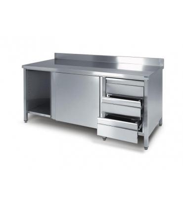 Tavoli armadiati con cassettiera arredamento inox - Tavoli inox per ristorazione ...