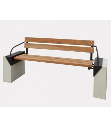 Panchine in legno ed acciaio o metallo e cemento