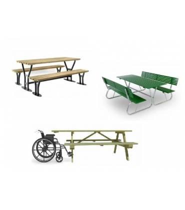 Tavoli con panche da esterno