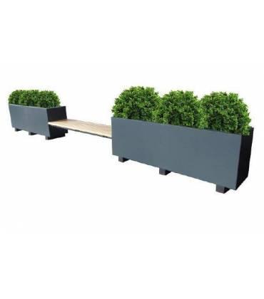 Panchine in metallo o legno e acciaio con fioriere